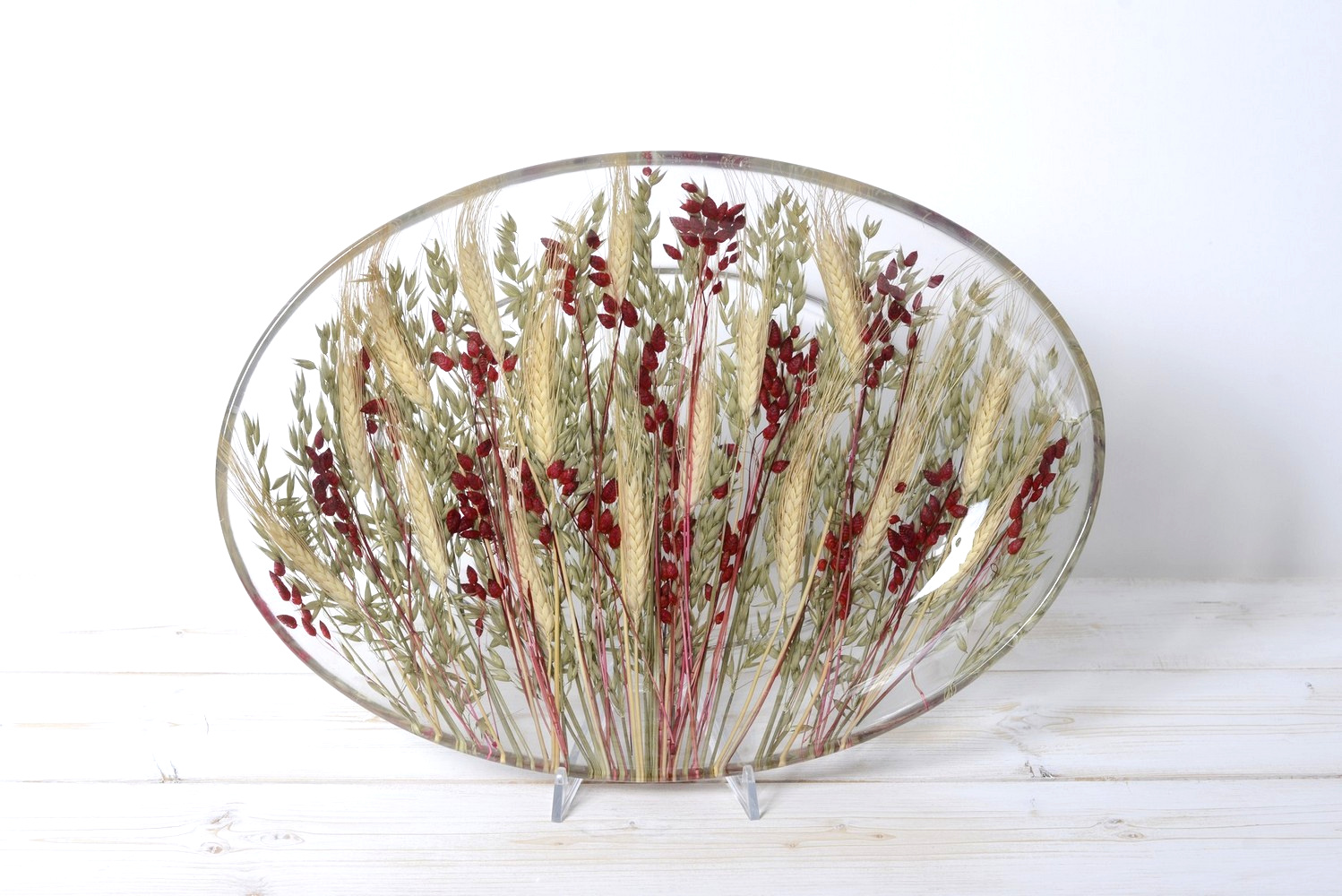 Oval Tray/Centerpiece Wheat in Red Collection cm 32x46 h7