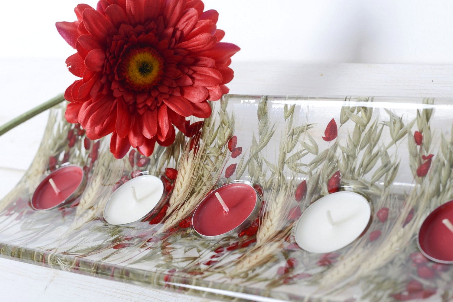 Rectangular candle holder Wheat in Red Collection cm 36x13 h4
