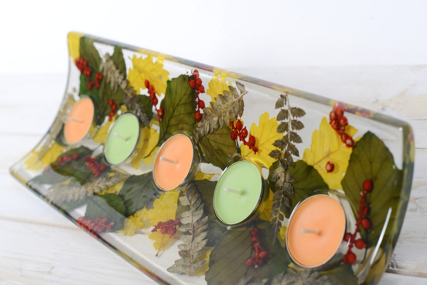 Rectangular candle holder Berries Collection cm 36x13 h4