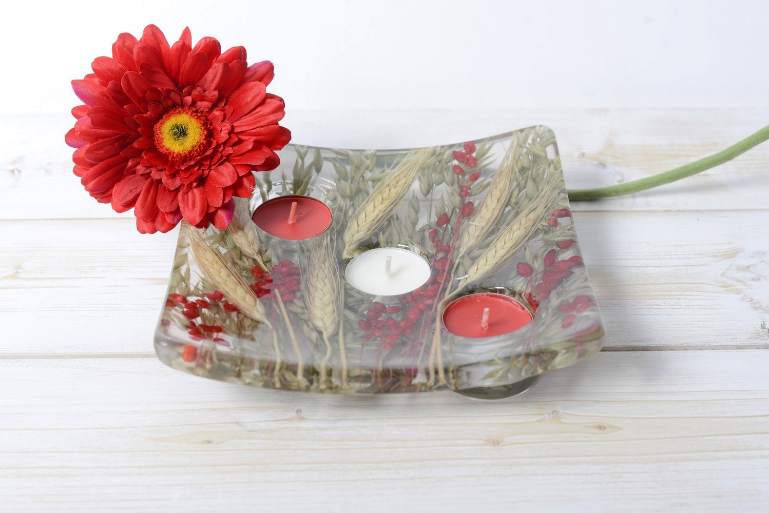 Square candle holder Wheat in Red Collection cm 19x19 h4