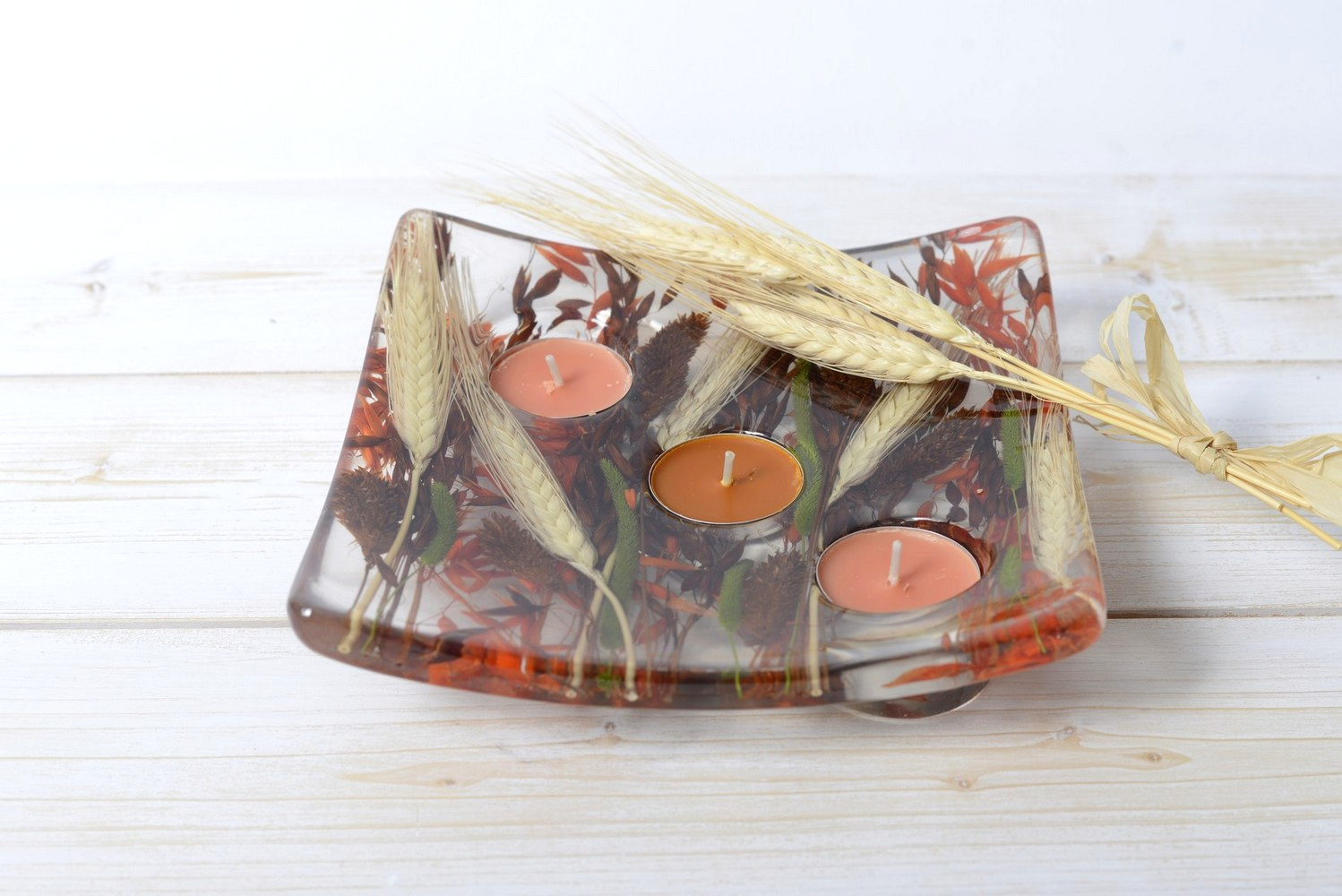 Square candle holder Autumn Collection cm 19x19 h4