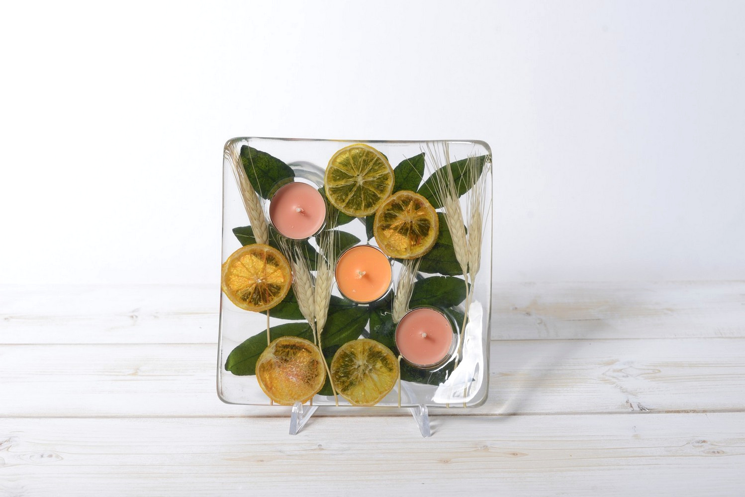 Square Candle holder Wheat and Orange Collection cm 19x19 h4