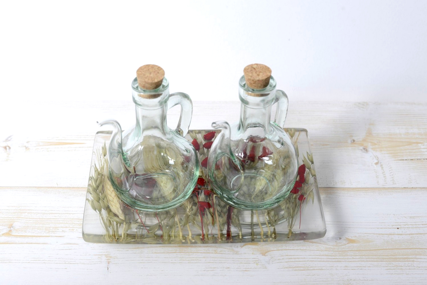 Oil/Vinegar Set Wheat in Red Collection cm 19x12 h15