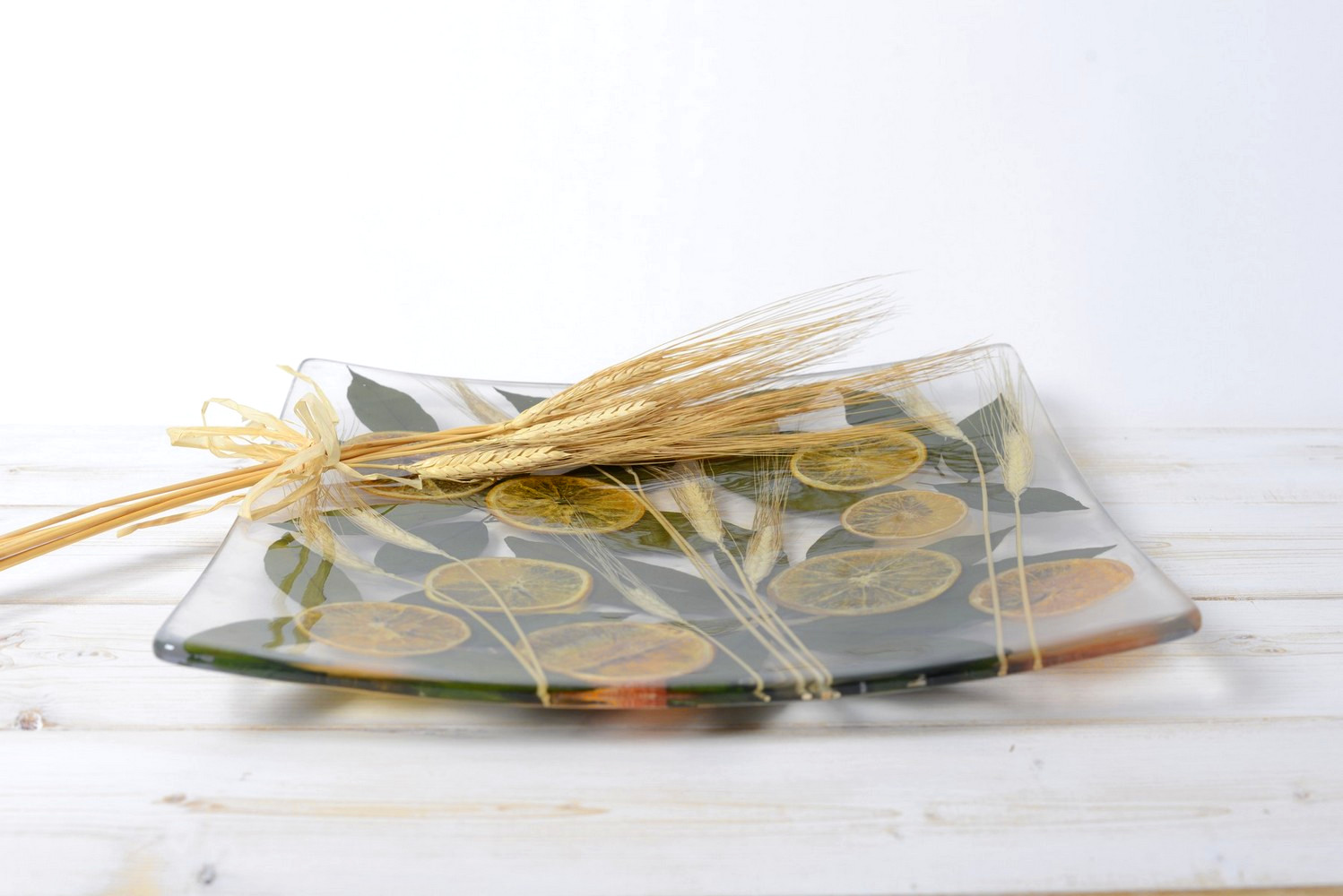 Square Centerpiece Wheat and Orange Collection