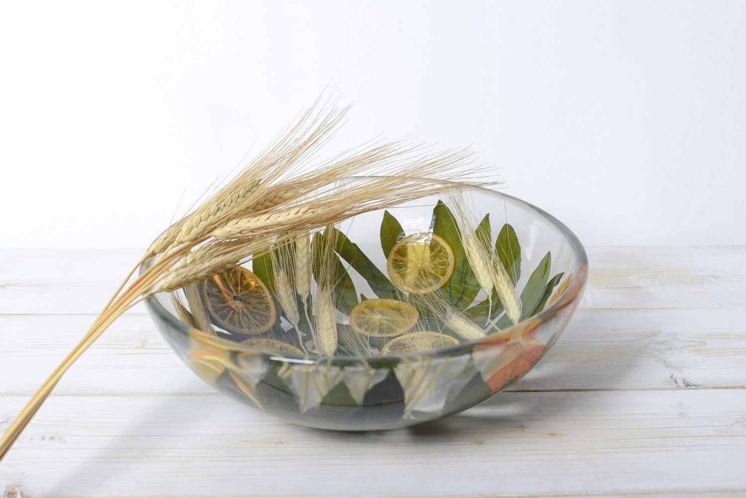 Round Bowl/Centerpiece Wheat and Orange Collection