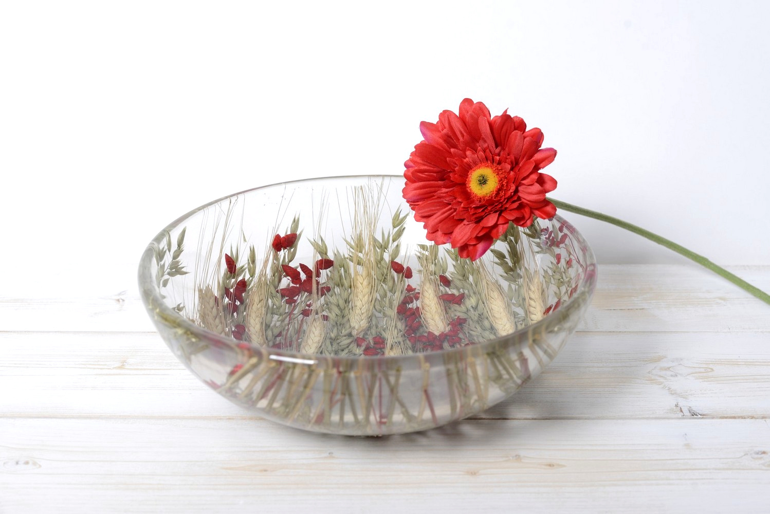 Round Bowl/Centerpiece Wheat in Red Collection