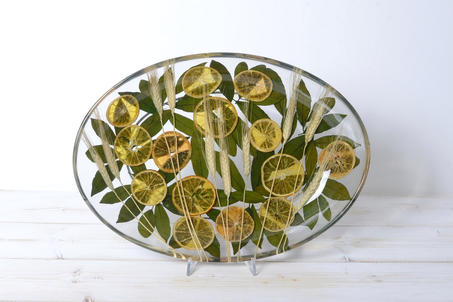Oval Tray/Centerpiece Wheat and Orange Collection cm 32x46 h7
